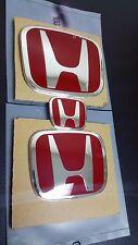 3PCS JDM Red H Emblem Front Rear Steering Wheel For 08-15 HONDA ACCORD SEDAN 4DR