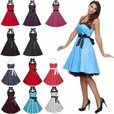 Rockabilly Kleid Petticoat 50er Abendkleid Tanzkleid Karneval Polka Dots XS-4XL