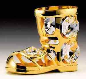 Santa's Boot FIGURINE - ORNAMENT 24KT GOLD PLATED WITH AUSTRIAN CRYSTALS
