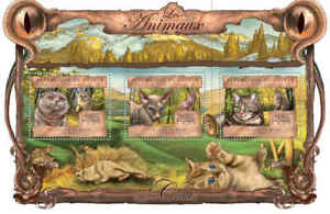 Guinea - Domestic Cats on Stamps - 3 Stamp Sheet - 7B-2120