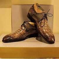 Chaussures à lacets en cuir marron clair à imprimé crocodile fait à la main pour
