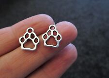 Pack of 10 Tibetan Silver Paw Print Pendant Charm CAT DOG BEAR 13mm x 11mm