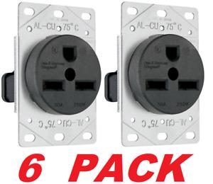 Legrand Pass & Seymour 3801CC6 Power Outlet, Flush-Mount 250-V 30Amp (6 PACK)