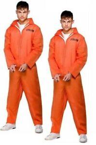 Orange Convict Boiler Suit Mens Costume Chain Gang Prisoner Jumpsuit Fancy Dress