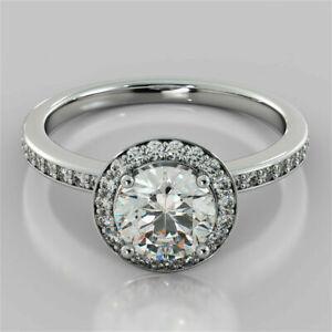 2.20 Ct Round Genuine Diamond Engagement Halo Ring 14K White Gold Plated