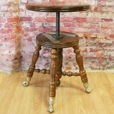 Antique Victorian Piano Organ Stool Bench Glass Ball Claw Foot Adjustable