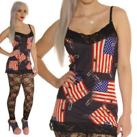 LACE VEST TOP STARS & STRIPES SAFETY PINS goth ALTERNATIVE