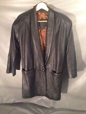 Vintage Jacqueline Ferrar 80's Black Leather Oversized Jacket Coat Sz S