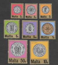 MALTA 1972  FIRST DECIMAL COINAGE - SET OF 8 - SG 467 to 474- Mint Hinged