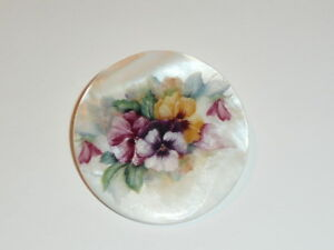 """Pretty Pansies Flowers Button - Mother of Pearl MOP Shank Button 1+3/8"""""""