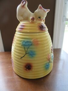 Vintage 1950's American Bisque USA CAT/KITTEN ON BEEHIVE Cookie Jar Kitsch