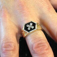 14K Yellow Gold Diamond Antiqued Ring 0.20CT