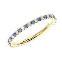 2mm Round Cut Diamond & Blue Sapphires Full Eternity Ring in 9K Yellow Gold