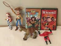 Disney Pixar Toy Story 3 Incredibles Lot DVDs Pull String Woody Jessie Figures