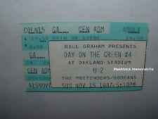 U2 1987 Concert Ticket Stub OAKLAND STADIUM Joshua Tree PRETENDERS Bodeans RARE