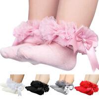 Baby Girls Tutu Socks Bow Lace Newborn Infant Frilly Sock Cute Short Socks