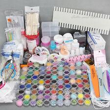 AU 96 Acrylic Powder Liquid Nail Art Kit Glitter UV GEL Glue Tips Brush Set