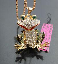 Z573  Betsey Johnson Shining crystal Enamel Frog Pendant Sweater Chain Necklace