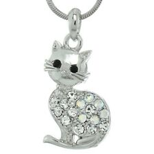 """Chain New Pendant Necklace 18"""" Chain Made With Swarovski Crystal Kitty Cat Pet"""