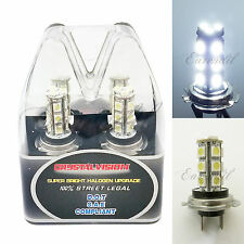 Retail Box LED H7 6000K White Xenon 18 SMD Headlight #v28 2x Bulb Low Beam Light