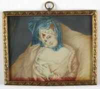 """""""Portrait of a 18th century courtesan"""", French miniature, early 20th century"""