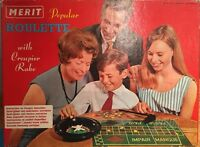 Rare 1960s Vintage Merit Casino Roulette with Crouper Chips Rake Boxed Complete