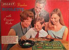 RARE 1960s VINTAGE Merit Casinò Roulette con Chip Croupier RASTRELLO IN SCATOLA COMPLETO