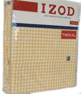 IZOD Yellow Check 3P TWIN XL SHEET SET NEW 1ST QUALITY COTTON RICH