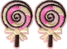 22165 Pink Cream Lollipop With Bow Candy Cute Girly Iron On Patches 2 FOR 1
