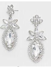 "3"" Long Bridal White Silver Clear Rhinestone Crystal Dangle Pageant Earrings"