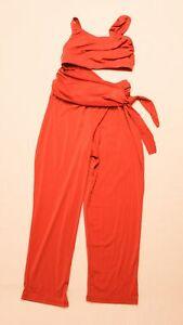Balera Dancewear Women's Cropped Cutout High-Waisted Jumpsuit KT4 Paprika Small