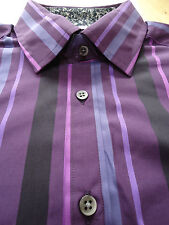 M&S AUTOGRAPH luxury shirt purple stripe style pure cotton RRP £35 S M L XL XXL