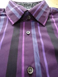 M&S AUTOGRAPH luxury shirt purple stripe style pure cotton RRP £35 S M L XL XXL