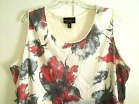 Dana Buchman Women's Plus Size 3X Top Sleeveless Sequin Floral Tank Shirt