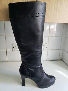 CLARKS SOFTWEAR PLUS UK 8 EU 42 WOMENS BLACK REAL LEATHER KNEE HIGH HEELS BOOTS