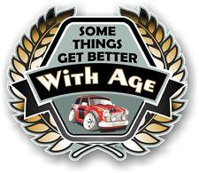 Koolart Crest BETTER WITH AGE Slogan & Classic Mini Cooper S Works Car Sticker