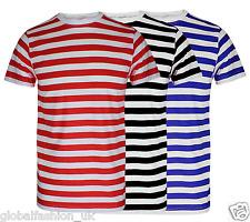 Boys Mens Red And White Stripe Tshirt Black Blue Stripe Top T Shirt Fancy Lot