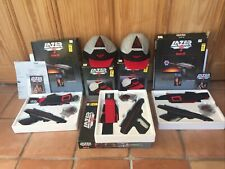 Vintage Lazer Tag Game Kits 3 Guns w/ Holsters/Belts & Star Base, 2 Caps