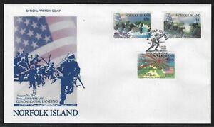 1992 Norfolk Island Scott #525-528 FDC - WWII Guadalcanal Landing Anniversary
