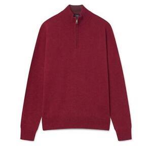 Men's Hackett, Lambswool Half Zip Knitwear in Blood Orange