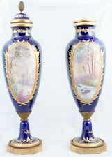 Antique Pair of Sevres Lidded Urns