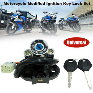 Universal Motorcycle Modified Ignition Key Lock Set Kit Switch Fit for Honda BMW