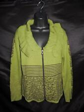 Skovhuus M Green Brown Floral Stripe Cardigan Sweater Lace Up Back Zip Cotton