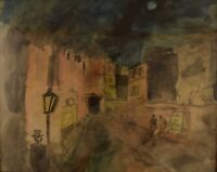Mogens Vantore: Scenery from Paris. Crayon, pencil and watercolor on paper.