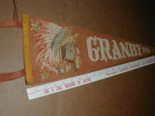 """Granby Quebec PQ Canada vintage rare old 1940-1950 23"""" inch pennant Indian Chief"""