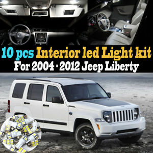 10Pc Super White Car Interior LED Light Kit Package for 2004-2012 Jeep Liberty