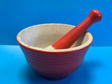 Collectible Red Porcelain/Stone Pestle & Mortar Set Muddler Crusher Grinder