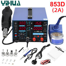 4 in 1 YIHUA 853D 2A Soldering Station Solder Iron Hot Air Gun Welding Tool 220V