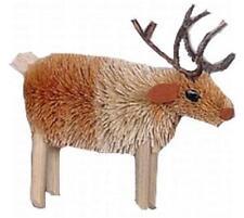 Reindeer Natural Brush Christmas Tree Ornament