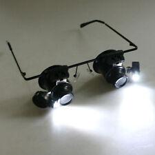 Eyeglasses 20X Magnifier Magnifying Glass Lens Loupe Glasses LED Repair